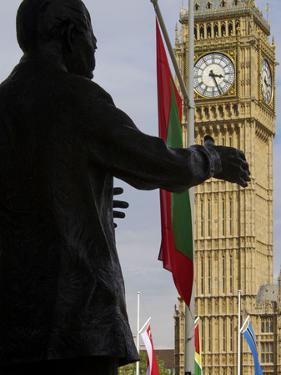 Nelson Mandela Statue and Big Ben, Westminster, London, England, United Kingdom, Europe by Jeremy Lightfoot