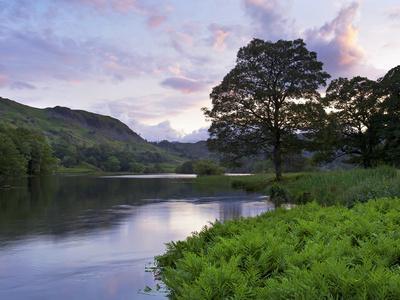 Sunset, Rydal Water, Lake District National Park, Cumbria, England, United Kingdom, Europe