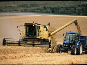 Combine Harvester Off-loading Grain by Jeremy Walker