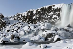 Oxararfoss Waterfall with Fresh Snowfall, Iceland by Jeremy Walker