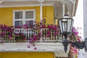 Charming Old World balconies, Cartagena, Colombia. by Jerry Ginsberg