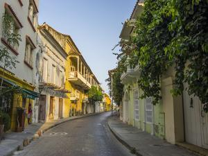 Charming residential street in historic Cartagena, Colombia. by Jerry Ginsberg