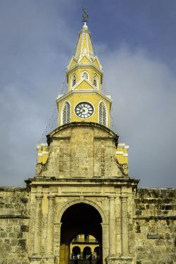 Clock Tower, Plaza de La Paz, Old City, Cartagena, Colombia by Jerry Ginsberg