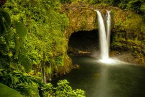 Rainbow Falls in Wailuku State Park on the edge of Hilo, Hawaii, USA by Jerry Ginsberg