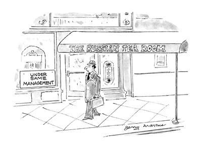 Man walks by a building that has a sign at the side of it that reads 'Unde? - New Yorker Cartoon