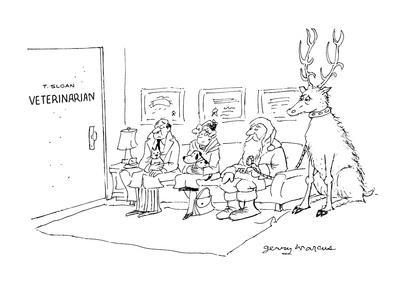 Santa sitting in the waiting room of 'T. Sloan, Veterinarian' with a sick-? - Cartoon
