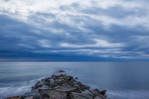 Dawn over the Breakwater at Wallis Sands SP in Rye, New Hampshire by Jerry & Marcy Monkman