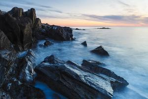 Dawn, Rocks, and Surf. Wallis Sands State Park, Rye, New Hampshire by Jerry & Marcy Monkman