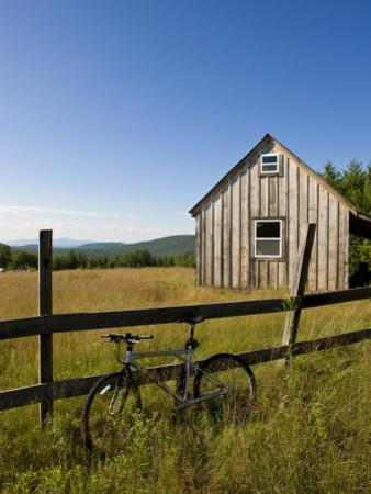 Mountain bike and barn on Birch Hill, New Durham, New Hampshire, USA by Jerry & Marcy Monkman
