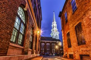 The North Church as Seen from Market Square, Portsmouth, New Hampshire by Jerry & Marcy Monkman