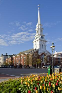 Tulips and North Church in Market Square. Portsmouth, New Hampshire by Jerry & Marcy Monkman