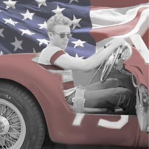 James Dean Flag with Border by Jerry Michaels