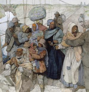 Painting of Harriet Tubman as She Escorts Escaped Slaves into Canada by Jerry Pinkney