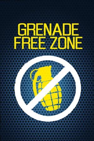 Jersey Shore Grenade Free Zone Blue Mesh TV Plastic Sign