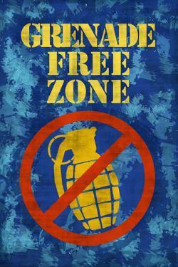 Jersey Shore Grenade Free Zone Blue TV Plastic Sign