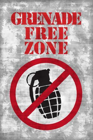 Jersey Shore Grenade Free Zone Gray TV Plastic Sign