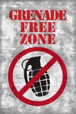 Jersey Shore Grenade Free Zone Gray TV Plastic Sign