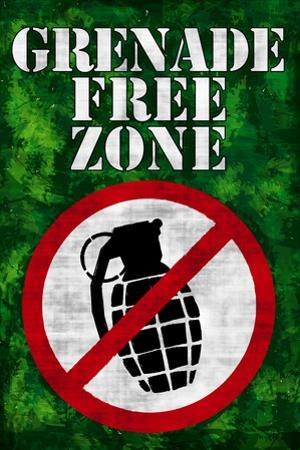 Jersey Shore Grenade Free Zone Green TV Plastic Sign