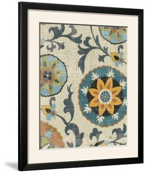 Persian Patchwork Blue Brown Tile I by Jess Aiken