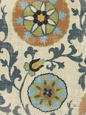 Persian Patchwork Blue Brown Tile II by Jess Aiken