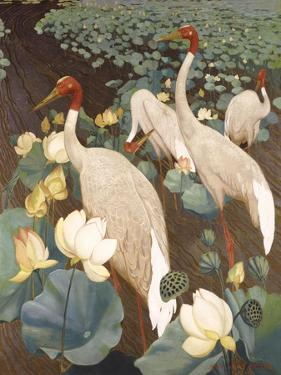 Indian Sarus Cranes on Gold Leaf by Jesse Arms Botke