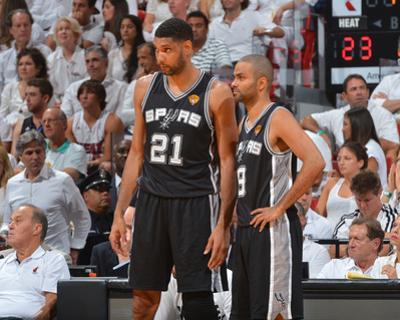 2014 NBA Finals Game Four: Jun 12, Miami Heat vs San Antonio Spurs - Tim Duncan, Tony Parker