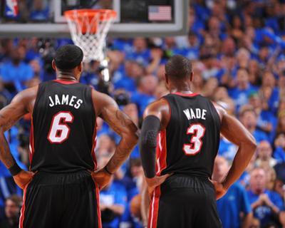 Miami Heat v Dallas Mavericks - Game Five, Dallas, TX -June 9: LeBron James and Dwyane Wade