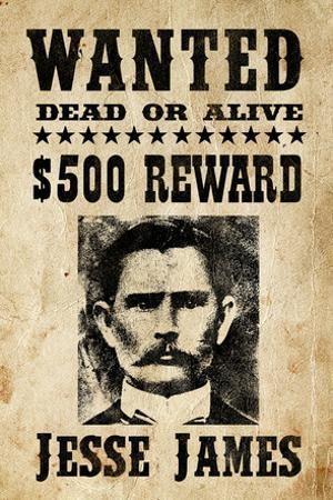 Jesse James Wanted Advertisement Print Poster