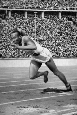 Jesse Owens at the Start of the 200 Metres at the Berlin Olympic Games, 1936