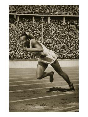 Jesse Owens at the Start of the 200m Race at the 1936 Berlin Olympics