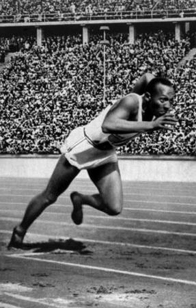 Jesse Owens Setting the 200 Meter Olympic Record at the Olympics in Berlin, Germany, 1936