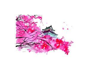 Japanese Temple Scene by Jessica Durrant