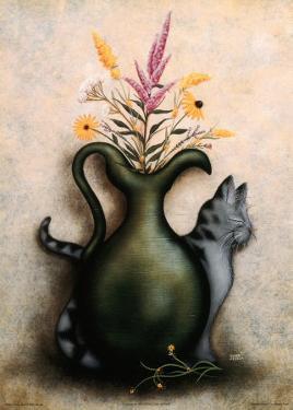 Cat & Vase III by Jessica Fries
