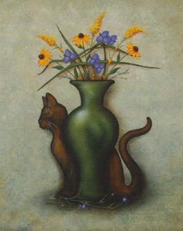 Cat & Vase IV by Jessica Fries
