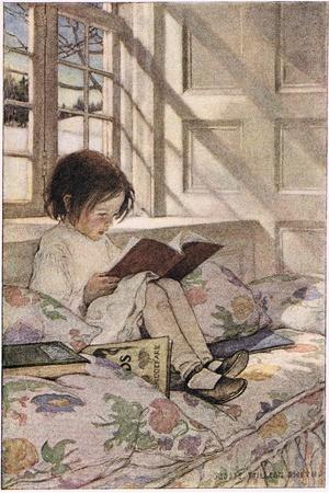 A Girl Reading, from 'A Child's Garden of Verses' by Robert Louis Stevenson, Published 1885