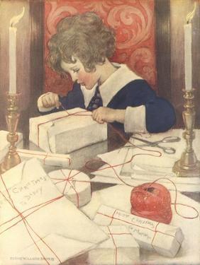Child Wrapping Presents by Jessie Willcox-Smith