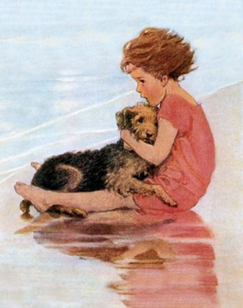 Don't Be Scared, Dog on the Beach by Jessie Willcox Smith