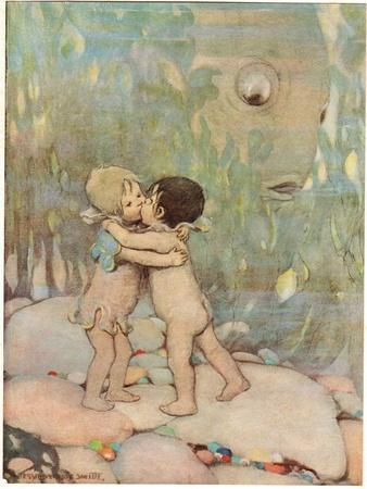 Tom and Ellie, Illustration from 'The Water Babies' by Reverend Charles Kingsley