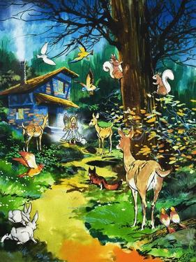 Woodland Animals Visit a Fairy House by Jesus Blasco