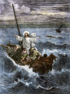 Jesus Calms the Waters Among Frightened Disciples in a Boat