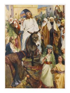Jesus, Riding a Donkey, Enters Jerusalem