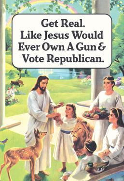 Jesus Would Never Own a Gun or Vote Republican Funny Poster Print