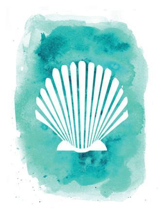Aqua Watercolor Background Scallop Shell by Jetty Printables