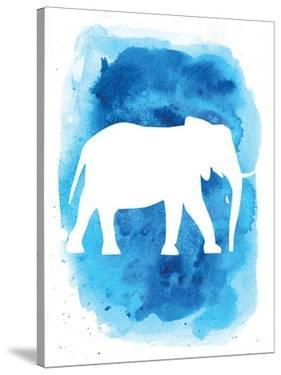 Watercolor Blue Background Elephant by Jetty Printables
