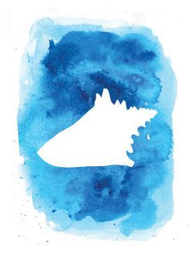 Watercolor Blue Conch by Jetty Printables