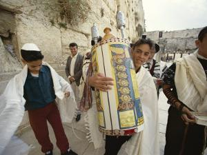 Jewish Bar Mitzvah Ceremony at the Western Wall (Wailing Wall), Jerusalem, Israel, Middle East by S Friberg