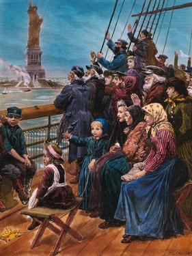 Jewish Immigrants on Ship near Statue of Liberty