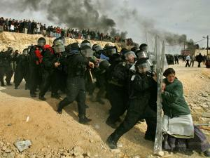 Jewish Settler Struggles with an Israeli Security Officer as Authorities Evacuated the Settlement