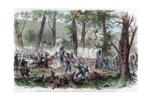Wheeler's Confederate Cavalry Capturing a Supply Train Near Jasper, Tennessee, C1863 by JFE Hillen