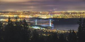 Vancouver city skyline panoramic view at night, Vancouver, British Columbia, Canada, North America by JIA HE